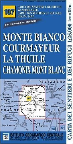 Chamonix Cartina Geografica.Carta N 107 Monte Bianco Courmayeur Chamonix La Thuile 1