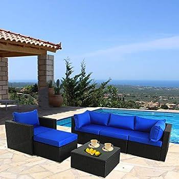 Amazon.com : Patio Furniture Sofa Outside Couch PE Black ...