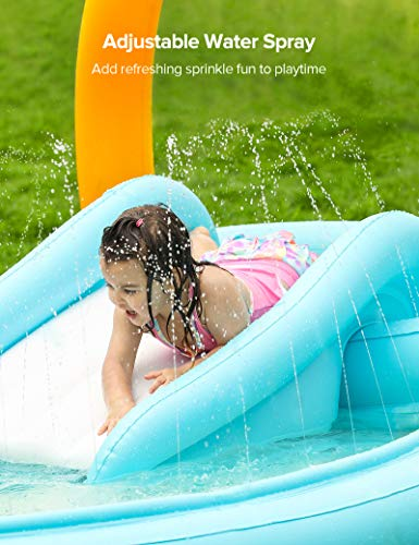 Sable Inflatable Play Center Wading Pool with Slide for Kids Children Garden Backyard 110'' x 71'' x 53''