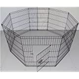 BUNNY BUSINESS 8 panel box per i conigli/Guineas/cani e gatti, grande, nero