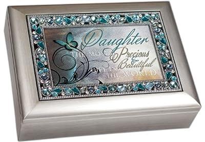 Brushed Silver Jeweled Inlay Jewelry Music Box