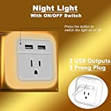 Dual USB Charger with LED Night Light, with ON OFF Switch for Night Light, Portable Travel Charger Plug iWireless USA iPower White