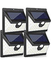 مصابيح ليد شمسية في الهواء الطلق، مصابيح LED تعمل بالطاقة الشمسية 40 مصباح LED بزاوية واسعة 270 درجة، LED IP65 أضواء للأمان الشمسية المقاومة للماء 3 أنماط للحدائق، والسياج، والحائط الخارجي (4 حزم)