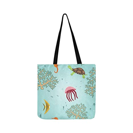 Colorido Seahorses Cartoon Canvas Tote Bolso Bandolera ...