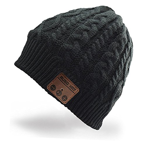 Momoday Unisex Wireless Music Hat Beanie with Stereo Headphone Speaker Hands-Free Talking Braiding Knitting Warm Winter for Fitness Outdoor Sports Walking Christmas Birthday Gifts (Black)