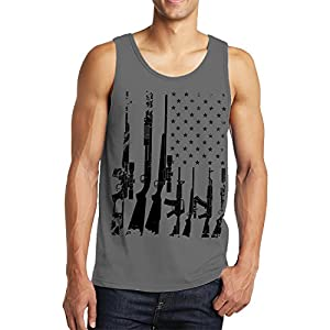 Distressed USA Gun Flag Men's Tank Top, SpiritForged Apparel, Charcoal XL