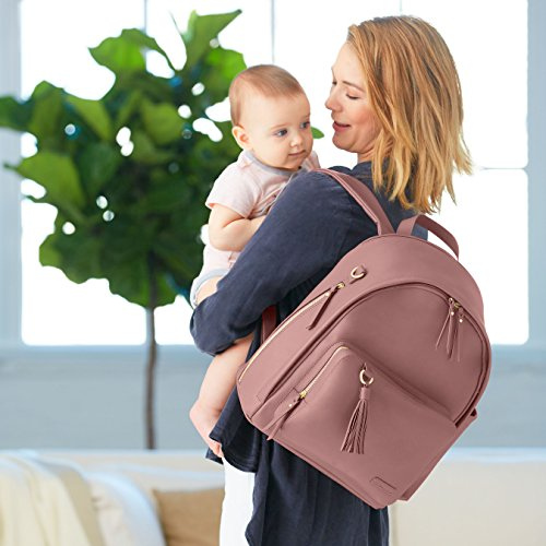 Vegan Leather Skip Hop Diaper Bag Backpack Dusty Rose with Gold Trim Greenwich Multi-Function Baby Travel Bag with Changing Pad and Stroller Straps
