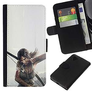 All Phone Most Case / Oferta Especial Cáscara Funda de cuero Monedero Cubierta de proteccion Caso / Wallet Case for LG Nexus 5 D820 D821 // T0Mb Raider - Lara Cr0Ft