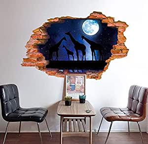 Cartoon lovely 3D animals wall stickers bedroom living room background decor removeable stickers mm