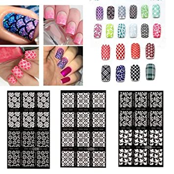 Nail art stencils vinyl hollow stickers decal manicure tips stamp nail art stencils vinyl hollow stickers decal manicure tips stamp template decoration prinsesfo Gallery