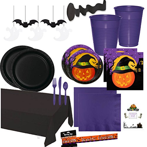 [Halloween Party Supplies Kit Premium Sturdy Disposable Dinnerware Pumpkin Haunts Napkins Plates Cups Cutlery Table cover Streamer Hanging Cutouts Warning Tape Idea Guide Bundle Serves 16 (176] (Halloween Decor Ideas 2016)