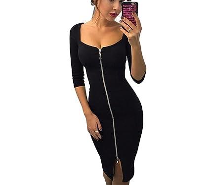 da064ad8853d Supshark Women Autumn Evening Party Dress Front Gold Zipper Tight  Elasticity Dress Casual Half Sleeve Slim Prom Club Queen Sexy Dress Plus  Size S-2XL: ...