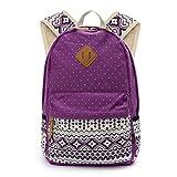 OURBAG Women Travel Canvas Dots Backpack Rucksack Shoulder Book Bag Satchel Purple