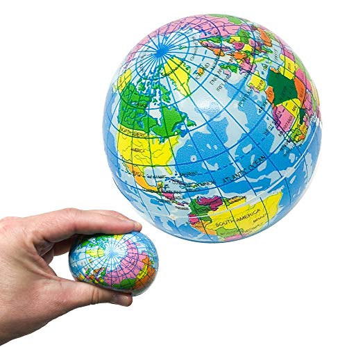 (12 Globe Stress Balls - 3 Inch Foam Earth Squeeze Toys with World Map (1 Dozen))