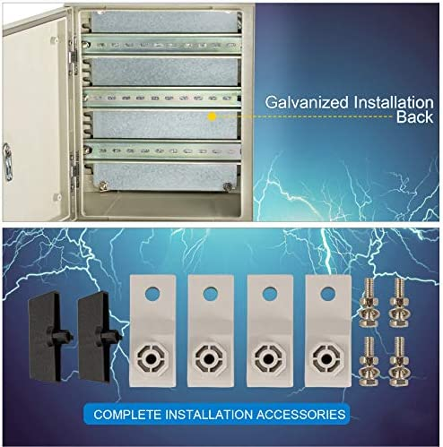"""51niAkDeN6L. AC VEVOR Fiberglass Enclosure 11.8 x 9.8 x 5.5"""" Electrical Enclosure Box NEMA 3X Electronic Equipment Enclosure Box IP65 Weatherproof Wall-Mounted Electrical Enclosure With Hinges & Quarter-Turn Latches     11.8 x 9.8 x 5.5"""" Fiberglass Electrical Enclosure Box The electrical box is molded from durable fiberglass reinforced polyester (FRP). With a sophisticated lock core, high-strength hinge, sealing rubber strip, and IP65 protection level to well-protect the internal electrical in harsh environments. It is ideal for protecting equipment from harsh environments and tampering. It is widely used for indoor and outdoor applications to protect circuits from liquids and corrosion, such as electricity, construction, hotel, and other industries.key Features Fiberglass Reinforced Polyester The electrical box features fiberglass reinforced polyester construction with high toughness, resistance to pressure, corrosion, and rust. The enclosure is impervious to dents. Thickened Dust Lock The inner lock core uses metal to prevent damage caused by excessive force. The durable and reliable cabinet door lock is applied for a convenient opening with longer service life. High Strength Hinge The electrical box adopts reinforced hinges, which will not be damaged if it is repeatedly opened and closed, and ensure that the box door is not easily broken by extrusion. Rubber Sealing Strip The sealing rubber strip is close to the box door with strong sealing performance to prevent dust and raindrops from dripping into the box and causing electricity leakage. IP 65 & Protective The IP65 waterproof design effectively blocks splashing water, rain, dust, snow, oil into the electrical enclosure and causing damage. It keeps your equipment well-protected in harsh environments."""