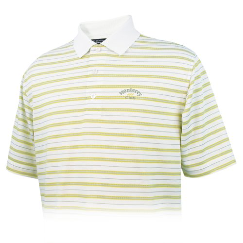 Monterey Club Men's Dry Swing Jacquard Short Sleeve Shirt #1601 (White/Lemon Drop,X-Large)