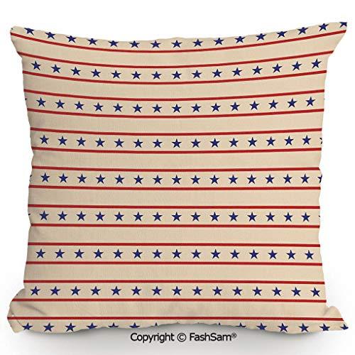 FashSam Polyester Throw Pillow Cushion Horizontal Borders Patriotic Stars Nostalgic USA Pattern Decorative for Sofa Bedroom Car Decorate(14