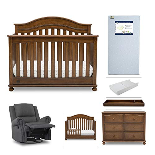 Nursery Furniture Set - 7-Piece | Convertible Crib, Dresser, Recliner Glider, Crib Mattress, Toddler Rail, Changing Top, Changing Pad, Simmons Kids Bristol - Antique Chestnut Brown/Charcoal