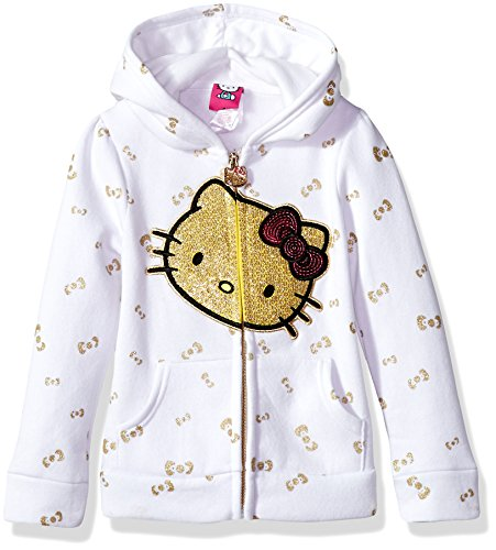 Hello Kitty Girls' Toddler Zip Up Hoodie with Sequin Applique, White 2T