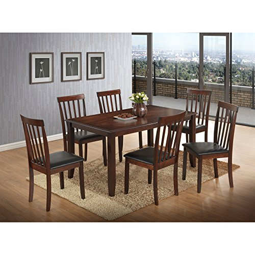 7 Piece Sophisticated Dining Set Included 6 Side Upholstered in Black Faux Leather Chairs Four Legs Table in Cappuccino Finish Plus FREE GIFT