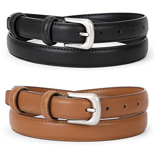 WERFORU Women Leather Belt Waist Skinny Dress Belts Solid Pin Buckle Belt for Jeans Pants,Black+Brown,Pants Size 30-36 inches (Women For Jeans Belts)