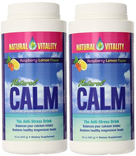 Liquid Cal Quick - Natural Vitality Natural Calm Magnesium, Powder, Raspberry Lemon 16 Ounce 2-Pack