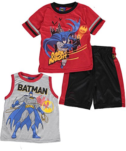 "Batman Little Boys' ""Dark Knight of Justice"" 3-Piece Set - red/gray, 5"
