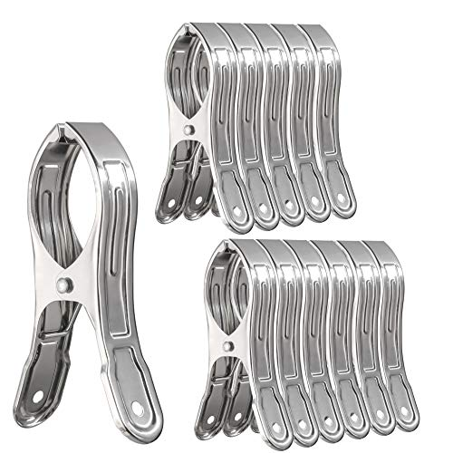 WEBI Stainless Steel Clips,12 Packs 4.7 Inch Pool Cover Clips Clamps Beach Towel Clips Chair Clips Clothing Peg Clamp Clothespin for Cruise,Blanket,Towel, Quilt, Lounge Chair, Windproof