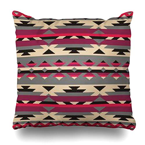 (VanYES Throw Pillow Covers Ornamental Pattern Knitting American Indians Design Navajo Tribal Ethnic Pixel Abstract Pullover Home Decor Sofa Pillowcase Square Size 20 x 20 Inches Cushion Case)