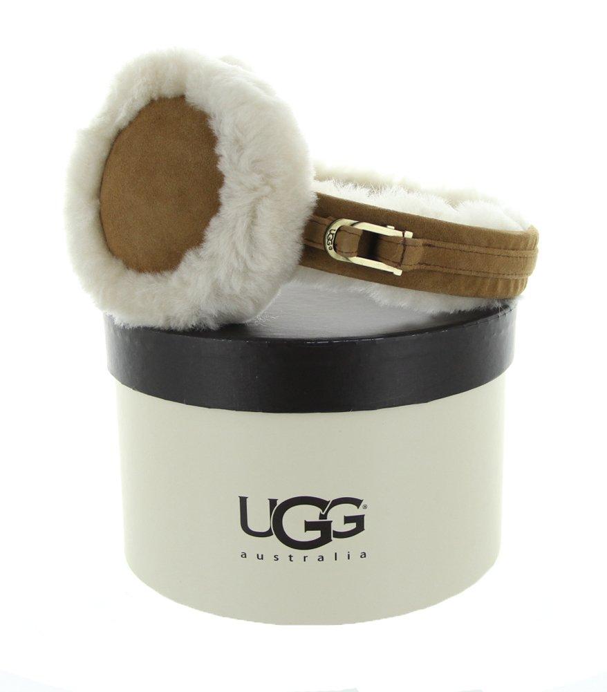 UGG Women's Double-U Logo Shearling Earmuff Chestnut One Size