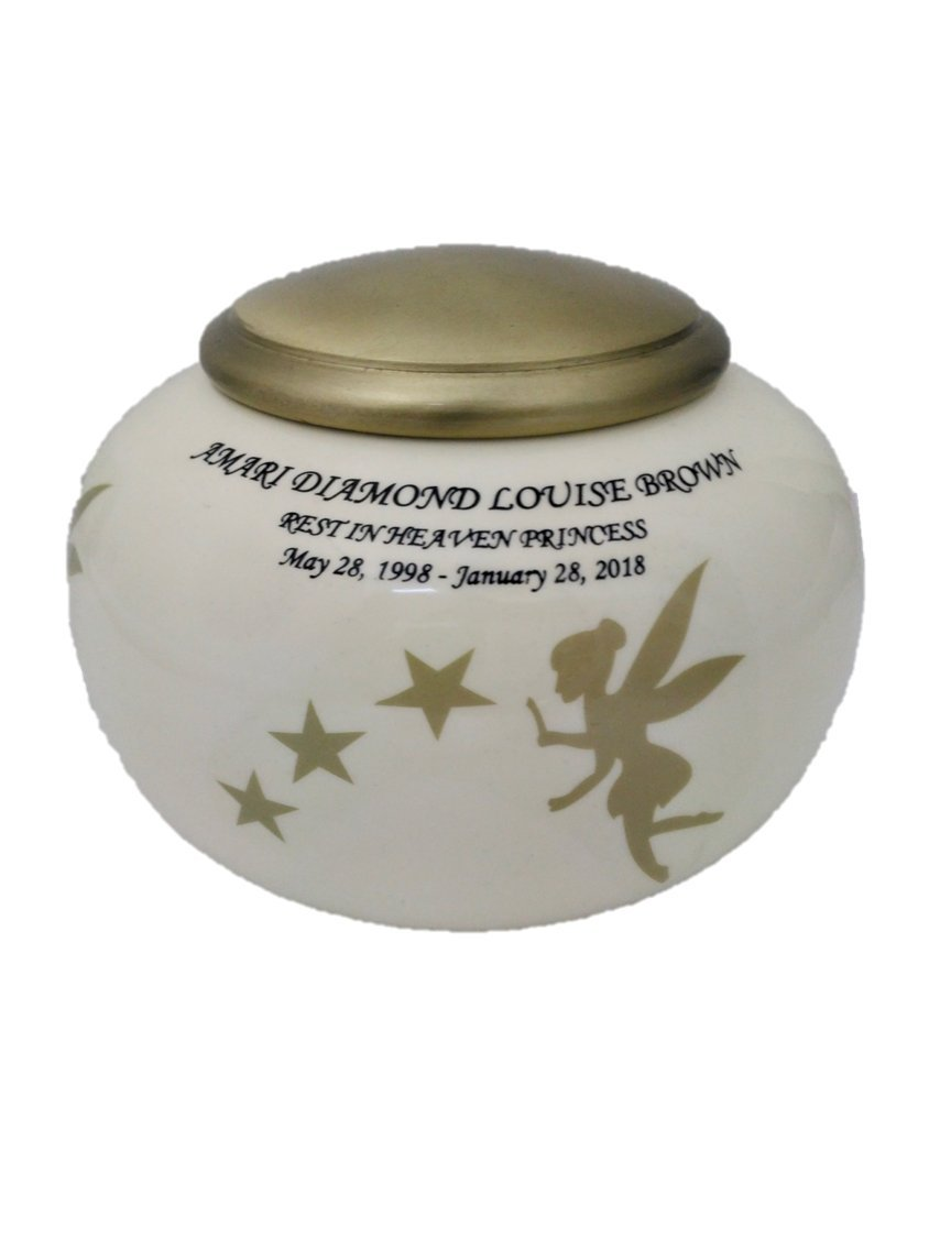 Urns for Human Ashes, Large Adult Size Cremation Urn, Angel Funeral Urns with Personalization and Velvet bag