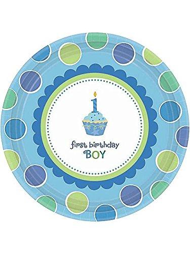 Amscan Sweet Little Cupcake Boy Dessert Plate - 18 ct (Little Amscan Sweet Cupcake)