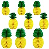 Aneco 9 Pieces Tissue Pineapples Honeycombs Ball Tissue Hanging Centerpieces Tissue Paper Pineapple for Summer Luau Party Hawaiian Themed Party Decorations in 3 Sizes