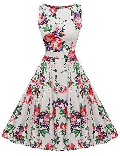 White Spring 1950's Dress Party Picnic Floral Dress Garden Party Cocktail Vintage ACEVOG Red qAtw7w