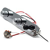 SAPHUE Guitar Control Plate Loaded Chrome/Nickel with 3 Way Switch 500K Tone and Volume Knob Prewired Screws Output Jack…