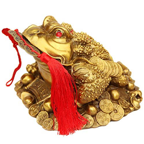 Amperer Brass Feng Shui Money Frog Three Legged Wealth Traditional Frog Money Toad Statue with Set of 5 Lucky Charm Ancient Coins on Red String Home Car Fengshui Decor (B1 Money Frog) ()