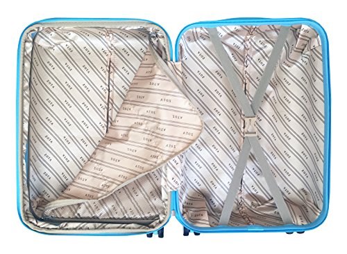 3 Pc Luggage Set Hardside Rolling 4wheel Spinner Upright Carryon Travel Sky Blue by Trendyflyer Collection (Image #6)