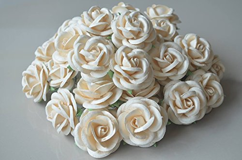 20 pcs BIG Rose White color Mulberry Paper Flower 45mm scrapbooking wedding doll house supplies card by Thai Decorated