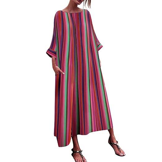 da206f1cf1 Women Dress,Caopixx Ladies Summer Deep V Multicolor Stripe Maxi Dress  Casual Button Down Beach