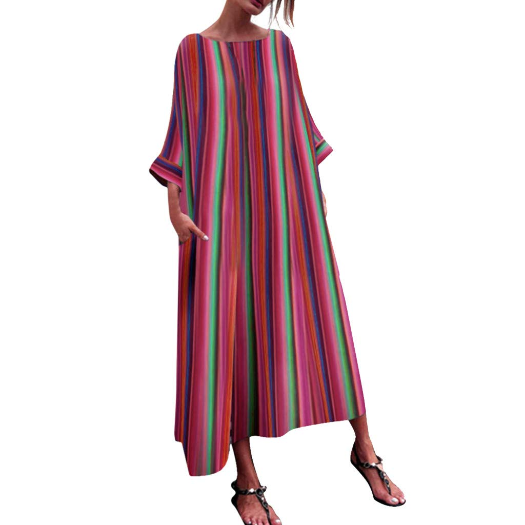Snowfoller Women Long Dress Casual Crew Neck Striped Multicolor Robe Dress Side Pocket Loose Beach Maxi Dress