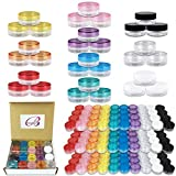400 Jars Beauticom 3G/3ML Small Sample Empty Clear Containers with MultiColor Lids for Cream, Lotion, Cosmetic, Makeup, Make up, Oils, Lip Balms, Scrubs, Liquid, Powders, pigments etc.