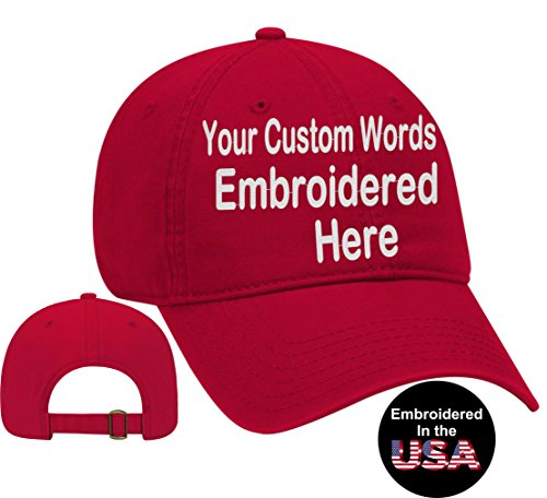 (Custom Text Embroidered Dad Hat. Unstructured Adjustable Metal Buckle (Red Dad Hat))