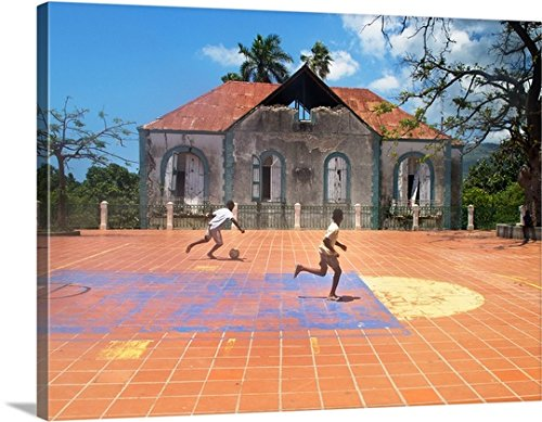 fan products of Canvas on Demand Premium Thick-Wrap Canvas Wall Art Print entitled Young Boys Playing Street Soccer In Haiti 40