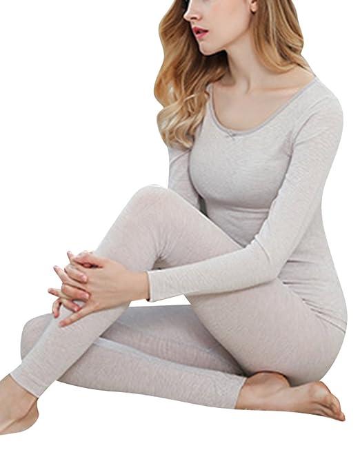 Mujer Termico Invierno Delgado Ajuste Conjunto De Pijama (Chaqueta&pantalones Larga) Ligero Gris