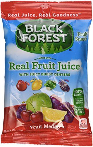 Black Forest Fruit Snacks with Juicy Burst Centers, Fruit Medley, 4 Ounce Bag, Pack of 12