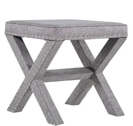 Contemporary Linen Fabric Upholstered 17 Inch Bench Ottoman Vanity Stool with X Legs and Silver Nailhead - Includes Modhaus Living Pen (Gray)