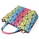 HotOne Luminous Shard Lattice geometric purse Women Shoulder Bag PU Leather Handbag (Rainbow)