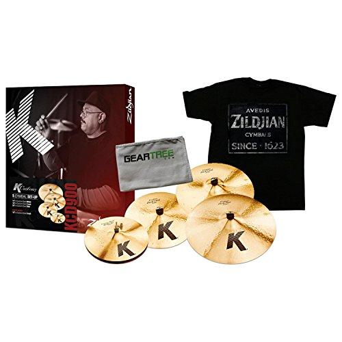 Zildjian KCD900 K Custom Dark Cymbal Box Set w/ Zildjian T4674 QUINCY VINTAGE SIGN TEE XL and Polish Cloth -  KCD900 BUNDLE