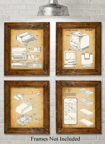 Original Steve Jobs Computer Patent Art Prints - Set of Four Photos (8x10) Unframed - Great Gift for Computer Geeks / Gurus and Tech Support