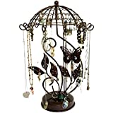 Butterfly Carousel Spinning Metal Jewelry Tree Organizer For Your Necklace, Earring, Bracelet, Watch & Ring Collection, Jewelry Display Stand For Girls + Women